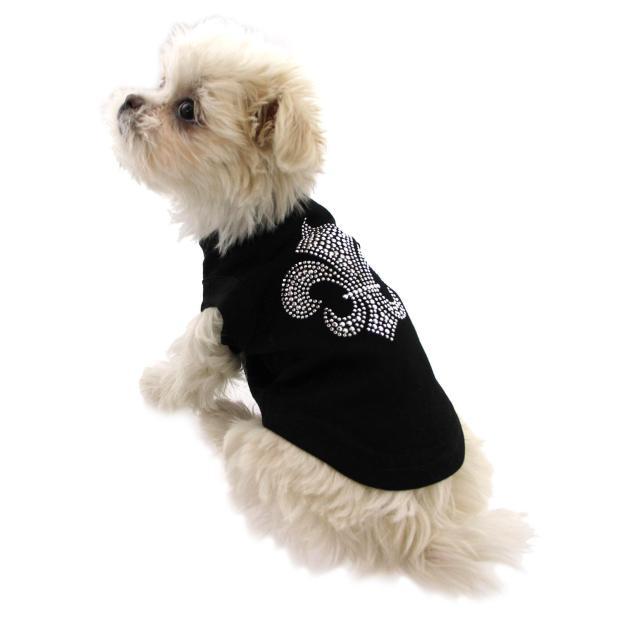 silver-fleur-de-lis-rhinestone-dog-shirt-black-2723